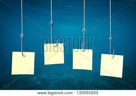 Multiple Fishing Hooks Under Sea Water And Banner