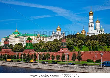Scenic view of Moscow Kremlin. Cloudy day shot with Moscow river. Panorama view of Moscow city, Russia. Postcard with Moscow Kremlin view.