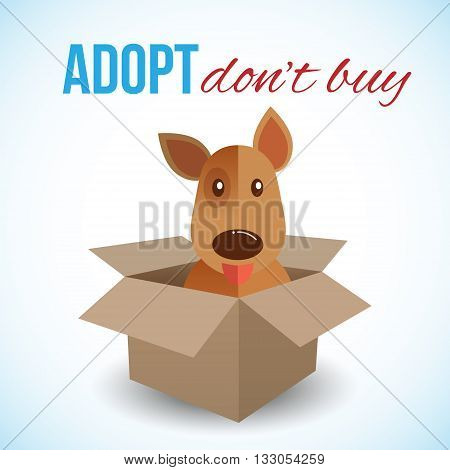 Cute dog in a box with Adopt Don't buy text. Homeless animals concept pets adoption theme. Vector illustration.