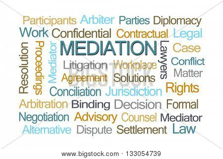 Mediation Word Cloud on White Background