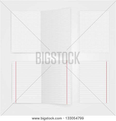Set of notepaper sheets with shadow isolated on white background. Squared and lined notebook page. Realistic vector illustration of paper