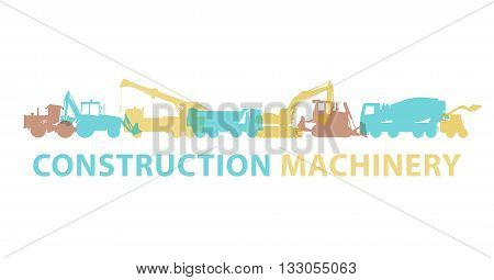 Construction machinery icon symbol. Ground works sign. Machines vehicles brand mark. Heavy construction equipment for building truck, digger, crane, bagger, mix, excavator. Illustration master vector. poster