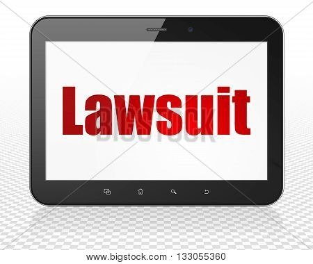 Law concept: Tablet Pc Computer with red text Lawsuit on display, 3D rendering