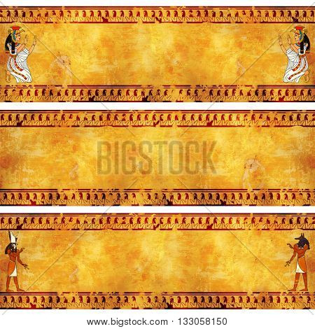 Collection of grunge banner with Egyptian gods images on old stucco textures. Isis, Anubis and Horus
