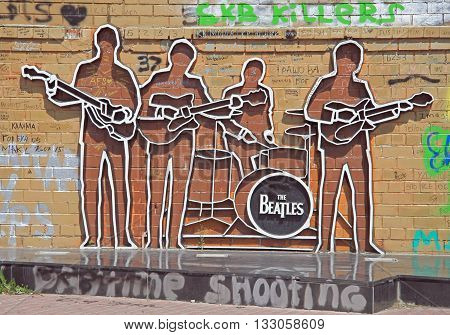 Monument To The Beatles In Yekaterinburg, Russia