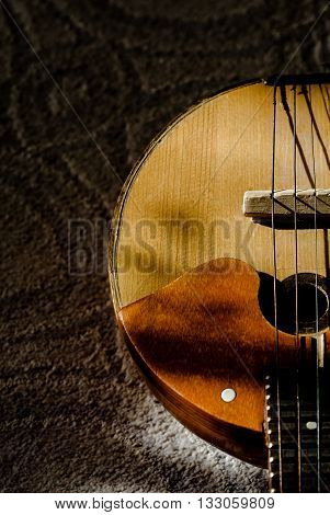 part of the musical string instrument  domra, lute,