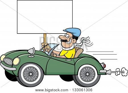 Cartoon illustration of a man in a sports car holding a sign.
