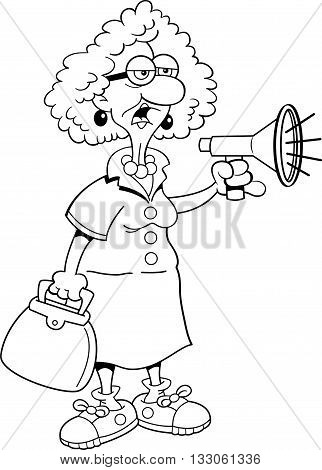 Black and white illustration of an old lady shouting into a megaphone.