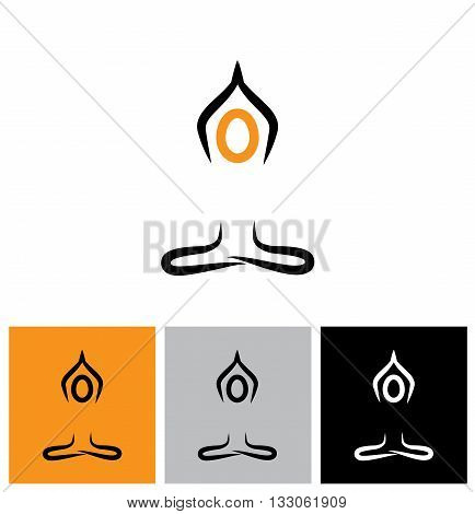 Vector Logo Icon Person Doing Meditation And Yoga