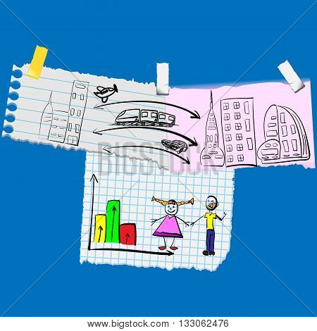 vector illustration of scrap papers notes with hand drawen delivery services and happy family separated in different layers for easier editing