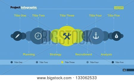 Editable presentation slide template of chart with five elements in form of circles with icons, several overlapping elements in background, titles, multicolored version