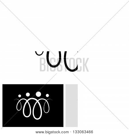 Family Of Four People Abstract Symbols Using Line Loops - Vector Icon