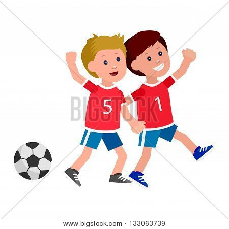 Cute vector character child playing football. Cheerful child. Happy boy kid illustration. Detailed character child. Vector for Celebration children day, fun child.