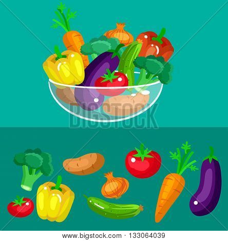 Eco food illustration for menu background. Flat detailed vegetable. Fresh vegetable. Vector illustration vegetable for vegan and vegetarian food. Vegetable on background