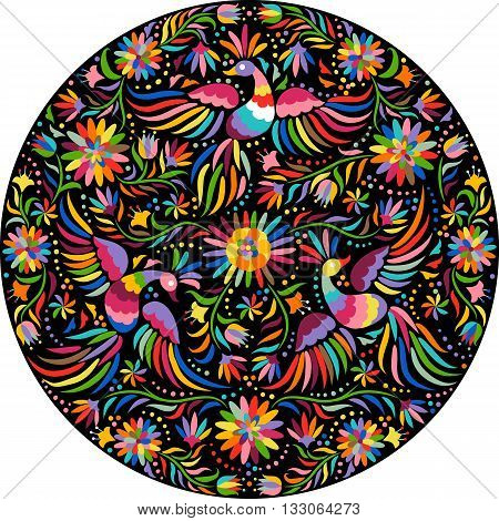 Mexican embroidery round pattern. Colorful and ornate ethnic pattern. Birds and flowers on the black background. Floral background with bright ethnic ornament.