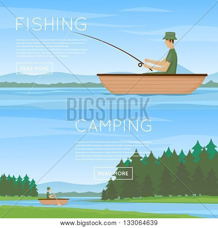 Summer fishing, man fishing from a boat. Summer landscape with the river. Hiking and outdoor forest camping. Flat design vector illustration.