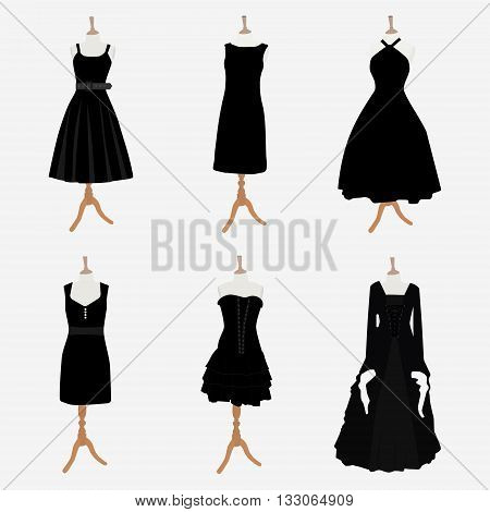 Vector illustration set of six black different design elegant cocktail and evening woman dresses on mannequin for boutique. Little black dress fashion