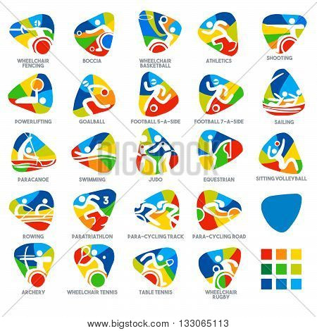 Paralympic Rio 2016 Summer Games Sport Icon Pictograms. Flat concept design Set stick figure vector illustration
