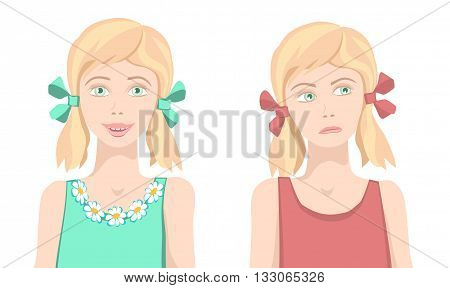 Same girl sad and happy. Same girl with upset and funny face. Different facial expression. Joyful and sad girls. Isolated characters. Vector. poster
