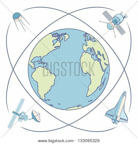 Earth in space. Satellites and spacecrafts orbiting Earth. Satellite in Earth orbit relaying communications broadcasting data transmission positioning locations. Flat elements labels icons.
