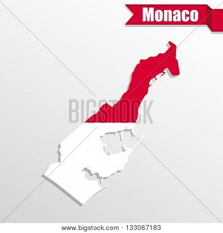 Monaco map with flag inside and ribbon