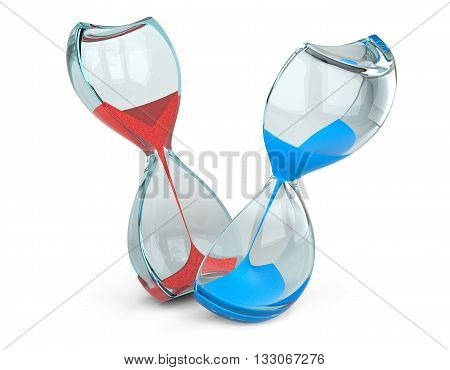 Hourglass cut into two parts with red and blue sand. The concept of measuring the time in a countdown to a deadline isolated on a white background image.