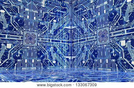 The Inside Of A Computer Or Electronic Environment