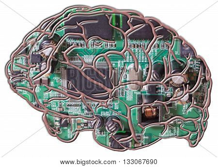 Artificial Intelligence - A photo of a circuit board as the image within the outline of a brain.