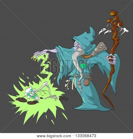 Colorful vector illustration of a cartoon necromancer rising a dead sceleton for his undead army of minions.