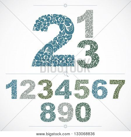 Ecology style flowery numbers vector numeration made using natural ornament. Colorful digits created with spring leaves and floral design.