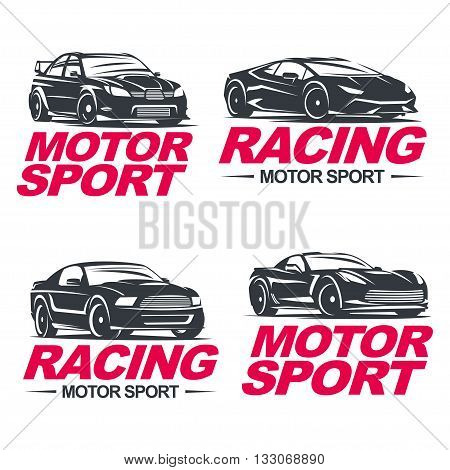 Set of four sport cars logo, badge illustration on white background. Drag racing, Tuning, Motor Sport. EPS 10