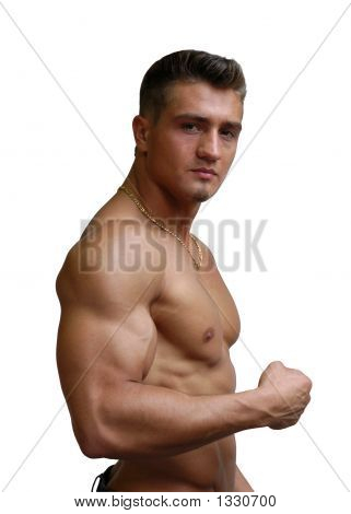 Muscular Sexy Man Flexing Biceps Isolated On White