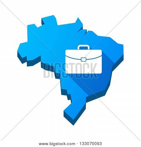 Illustration Of An Isolated Brazil Map With  A Briefcase