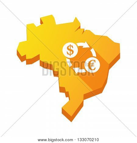 Illustration Of An Isolated Brazil Map With A Dollar Euro Exchange Sign