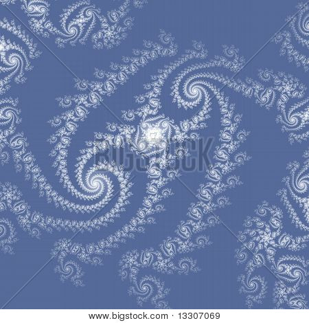 Elegant, Lacy Double Spiral in White on Wedgwood Blue