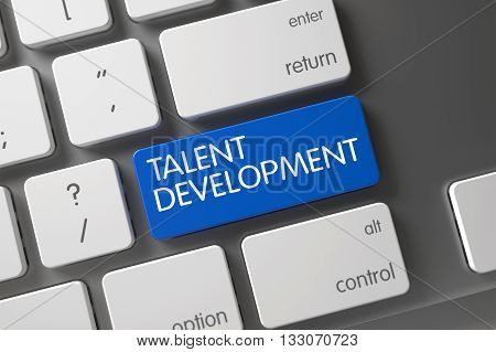 Modernized Keyboard with the words Talent Development on Blue Button. Talent Development Concept: Aluminum Keyboard with Talent Development, Selected Focus on Blue Enter Keypad. 3D.