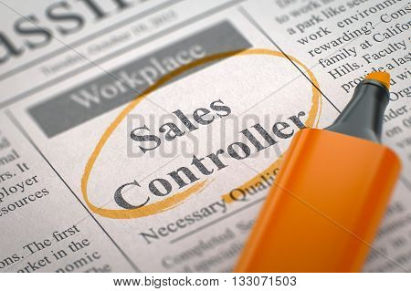 A Newspaper Column in the Classifieds with the Classified Advertisement of Hiring of Sales Controller, Circled with a Orange Highlighter. Blurred Image with Selective focus. Hiring Concept. 3D Render.