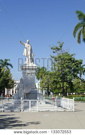 CIENFUEGOS - DECEMBER 2: Statue of Jose Marti in the Marti Park on 2 December 2015 in Cienfuegos, Cuba. Jose Marti is the Cuban national hero.
