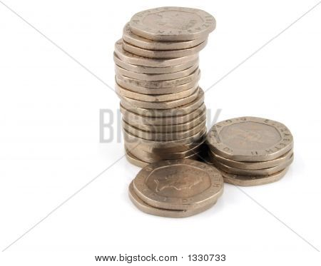 Stack Of 20 Pence Pieces