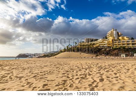 Beach And Hotel During Sunset - Morro Jable Fuerteventura Canary Islands Spain