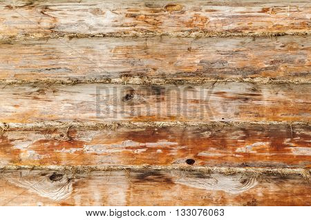 Rural Wooden Wall Made Of Logs, Close-up