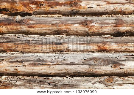 Old Wooden Wall Made Of Logs, Photo Texture