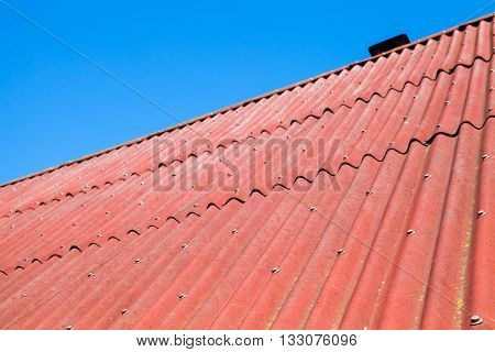 Blue Sky And Red Roof, Background Photo