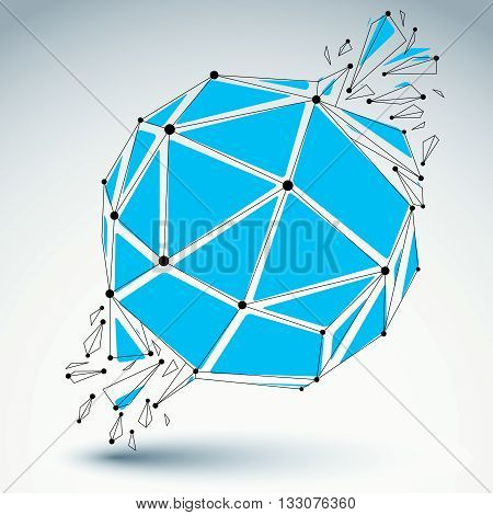 Vector dimensional wireframe object blue spherical demolished shape with refractions and wreckage. 3d mesh technology element broken into pieces.