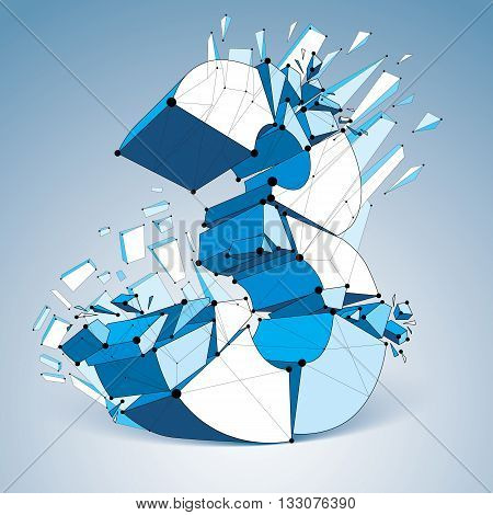 Perspective technology demolished blue number 3 with black lines and dots connected polygonal wireframe font. Explosion effect abstract faceted element cracked into multiple fragments.