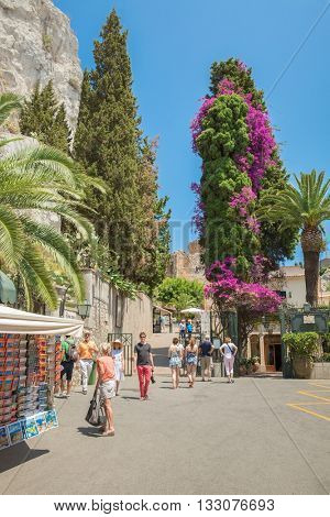 Imput a gateway to an ancient of Greek theater on the Italian island of Sicily, Italy, in town Taormina 2.July 2015
