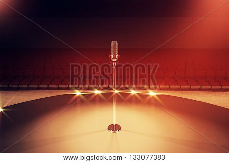 Microphone stand on stage with empty seats and limelight. 3D Rendering