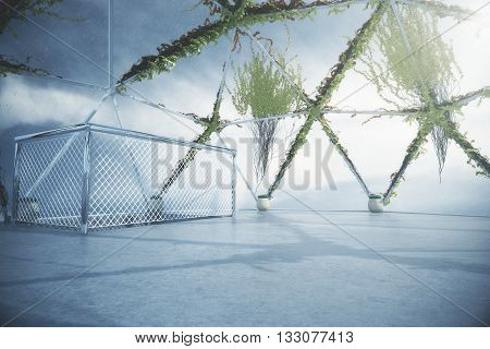 Penthouse interior with plants growing on panoramic window and ceiling concrete floor and ladder railing. 3D Rendering