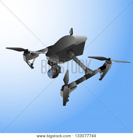 Realistic remote air drone quad-copter with camera. Vector illustration.
