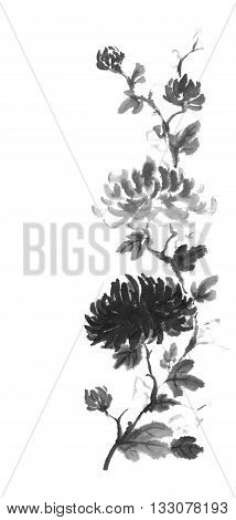 Japanese style original sumi-e dark and light chrysanthemum flower ink painting. Designed as traditional scroll. Great for greeting cards or texture design.